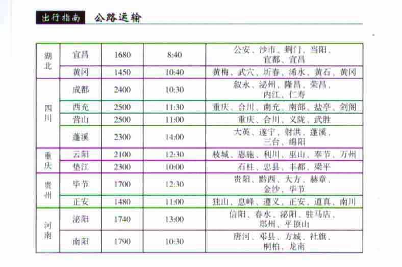 深圳西乡汽车客运站时刻表-至湖北